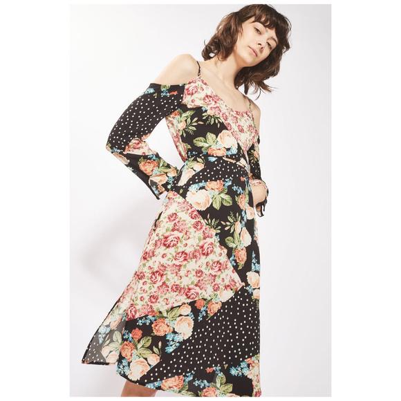 TOPSHOP Cold Shoulder Floral Hippie Boho Dress 8 22ae4c890